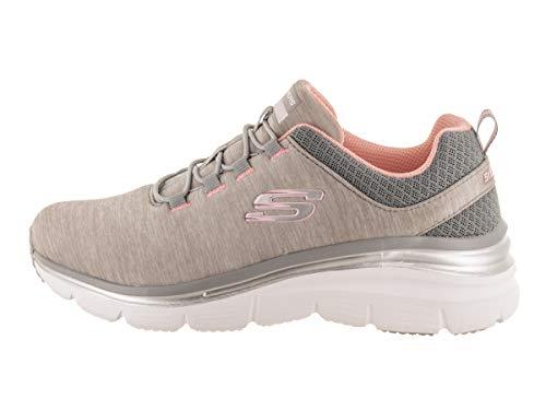 Skechers Women's Fashion Fit - Up a Level Gray/Light Pink Slip-On Shoe 9 Women US