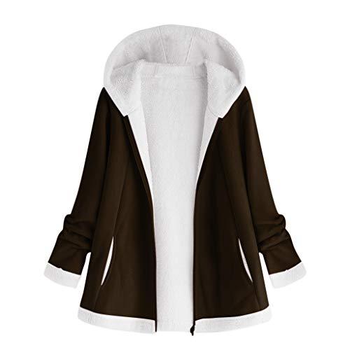 DNOQN Ledermantel Outdoorjacke FrüHlingsjacke Strickmantel Damen Mode Winter Tasche Reißverschluss Lange Ärmel Plüsch Kapuzenpullover Mantel