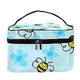 Bolsa de maquillaje de viaje con diseño de abeja y flores, bolsa de maquillaje grande, organizador con cremallera, para mujeres y niñas