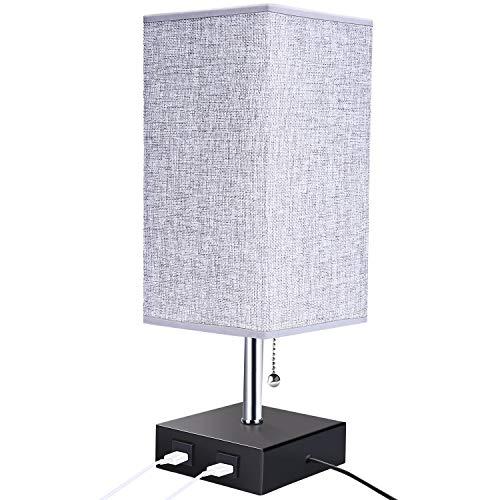 ENCOFT Lámpara de Mesa Lampara Mesilla de Noche LED Luz Mesita de Noche E27 Pantalla de Tela redonda con 2 puertos de carga rápida USB