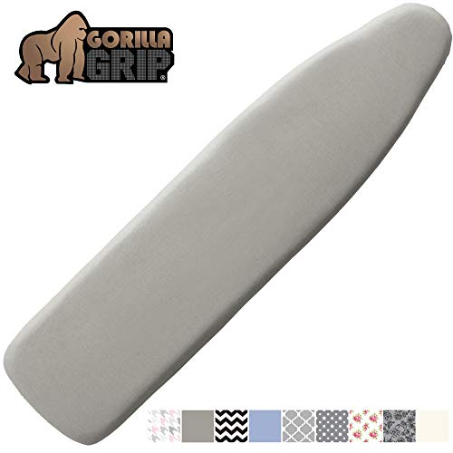 Gorilla Grip Reflective Silicone Ironing Board Cover 15x54 Fits Large and Standard Boards Pads Resist Scorching and Staining Elastic Edge Covers Thick Padding No Fasteners Needed Silver