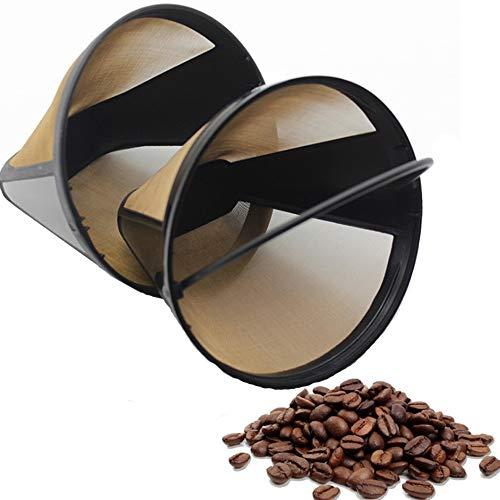 Nuluxi Filtro de Café Reutilizable en Forma de Cono Lavable Filtro de Café Accesorios de Café Metal Reutilizable Filtro de Café de Goteo Buena Permeabilidad y Precisión Uniforme para Todas Cafeteras