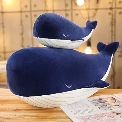 Xpccj Funda de cojín de peluche súper suave, diseño de ballena azul grande, juguete de peluche, de dibujos animados, regalo de cumpleaños para niños, color azul, altura: 65 cm