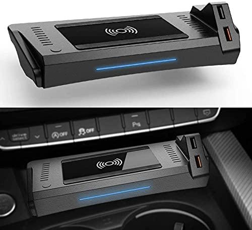 Cargador Inalámbrico para Coche,para Audi A4 RS4 RS5 2019-2021 A5 2020 2021 S4 S5 2021 Panel Accesorios de Consola Central,Cojín Carga Rápido del Cargador del Teléfono de 15W Qi con QC3.0 USB Puerto