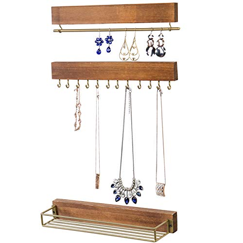 MyGift Wall-Mounted Rustic Wood Jewelry Necklace, Bracelet and Accessories Organizer with Gold-Tone Metal 12 Hooks, Hanging Bar and Shelf, Set of 3