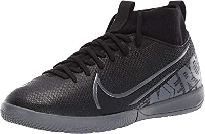 Nike Youth Mercurial Superfly 7 Academy Indoor Soccer Shoes (4.5 Big Kid, Black/Cool Grey)