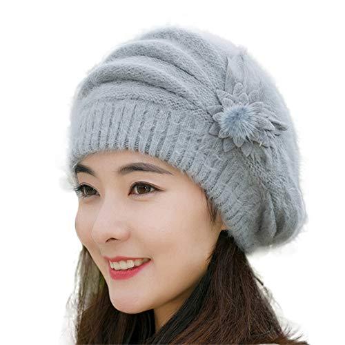 HANANei Fashion Womens Flower Knit Crochet Beanie Hat Winter Warm Cap Beret (Gray)