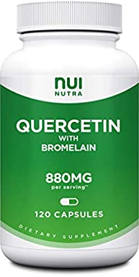 Quercetin with Bromelain 1045mg | 120 Capsules - Nui Nutra High Strength Quercetin Capsules 880mg/serving [Vegan, Gluten Free, Non-GMO, Lab Tested] - Extra Strength Quercetin Supplement (1)