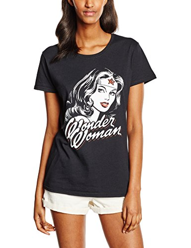DC Comics Wonder Woman Hint of Red Camiseta, Negro (Black), Medium para Mujer