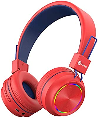 iClever Kids Bluetooth Headphones, Colorful Lights Headphones for Kids with MIC, Volume Control, Childrens Headphones Foldable on Ear for School/Travel by iClever