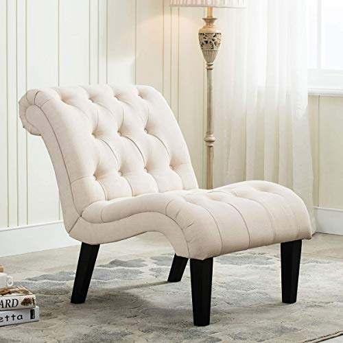 Yongqiang Upholstered Chair for Bedroom Living Room Chairs Accent Chair Lounge Chair with Wood Legs Cream Fabric