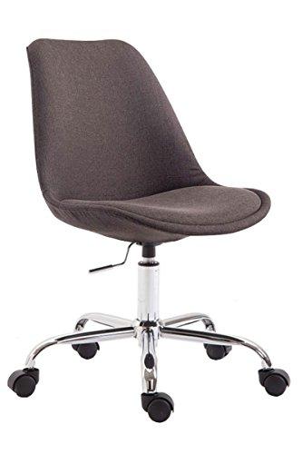 CLP Bürostuhl Toulouse mit Stoffbezug | Schreibtischstuhl mit Laufrollen | Drehstuhl mit Metallgestell in Chrom-Optik | Mit Farbwahl, Farbe:dunkelgrau