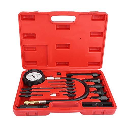GOTOTOP kompressionstestersats, 17 st biltraktor diesel TDI CDI motor kompressionstest diagnostest test tryckmätare kit i rött fodral