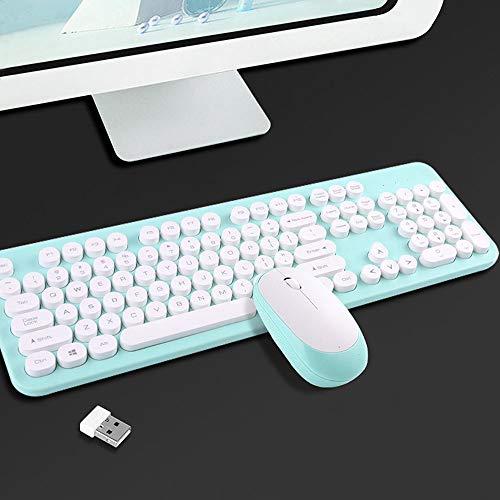 WOkismx Juego De Teclado Y Mouse Inalámbricos Teclado Mecánico para Juegos De Tecnología Inalámbrica De 2.4Ghz Mute Home Diseño De Diseño De 104 Teclas Teclado para Computadora Portátil,2