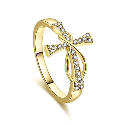 2pcs-2021 NUEVO Cruz Diamante 8 Palabra Anillo Para Mujer Moda Joyería Señora Infinito Corazón Anillo Accesorios Populares 7