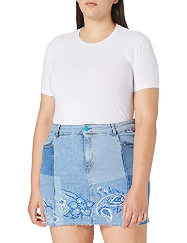 Desigual Fal_BE Blue Skirt Falda, Azul, 36 para Mujer