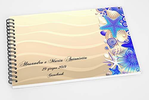 Guestbook matrimonio - libro dediche e auguri invitati personalizzato conchiglie mare sabbia disponibile in tutte le tonalità di colore