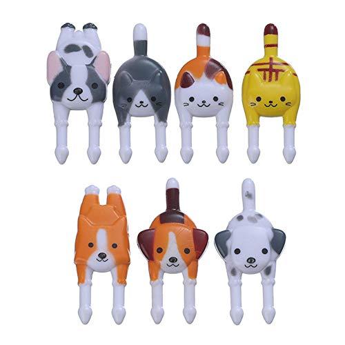 Riutilizzabili Cat Dog Animal Fruit Picks Forks - Bento Food...