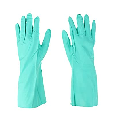 Prettyia Pair of Green Reusable Household Gloves Solvent Oil Resistant Nitrile Rubber Work Gloves, Length 13 Inches