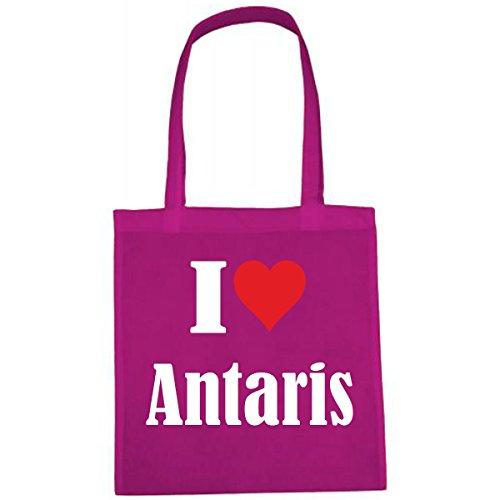Tasche I Love Antaris Größe 38x42 Farbe Pink Druck Weiss