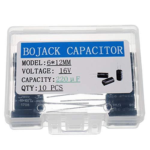BOJACK 220uF 16V 6x12mm Condensadores 220 MFD 16 Voltios 0.24x0.47 pulgadas ± 20% Condensadores electrolíticos de aluminio (paquete de 10 piezas)