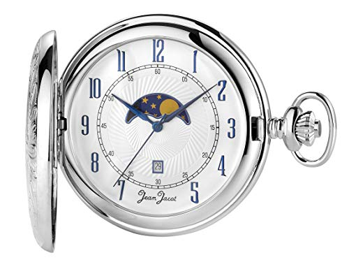 JEAN JACOT Taschenuhr – Zeitloses Accessoire für KULTIVIERTE Herren – Schweizer Quarzwerk Ronda – Mit Mondphase – Inklusive Kette und ETUI (Gehäuse-Ø 50 mm) – C337781