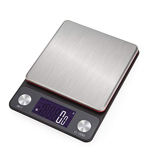NEXT-SHINE Digital Rechargeable Kitchen Scale 5kg x 0.1g Multifunction Food Weight Gram and Oz with LCD Back-lit Display and Large Tray for Cooking Baking Postal Parcel, Red Weighing Plate
