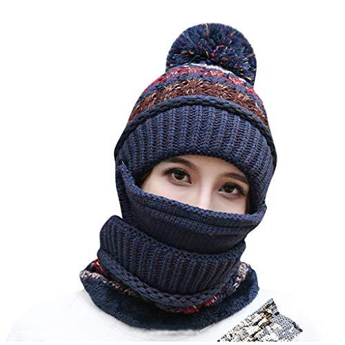 MMLC Damen Earflap Strickmütze Mütze Schal Mask Set, Bart Schnurrbart Strick Pom Pom Skull Cap Manschette Hut mit Schal & Maske