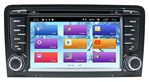Android 10 Autoradio Lettore Dvd, 7 Pollici per Audi A3 S3 RS3 Autoradio Navigazione GPS Audio IPS Touch Display Lettore multimediale Doppio DIN Head Drive Supporto DSP Schermo Specchio WiFi