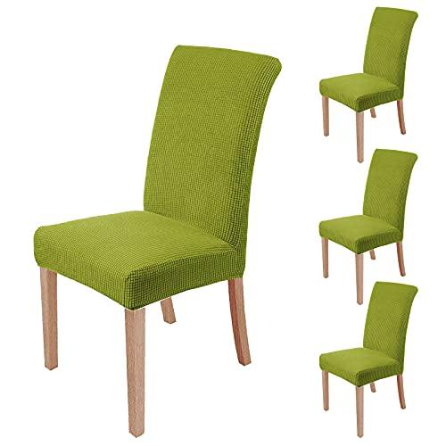 sorliva Stuhlhussen Stretch 4er Set Abnehmbarer waschbarer Stuhlbezug für das Esszimmer Moderne elastische Stuhlschutzdekoration für Büro Bankette Hochzeitsfest(Grün)