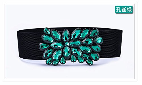 LONFENN Frauen Damen Mode Crystal Gummizug Kleid Kleid dekorative Gürtel weiblichen wild Zubehör Elegante Gürtel, grün, 70 cm Geburtstage Festivals Mütter VäTER Geschenke zum Valentinstag