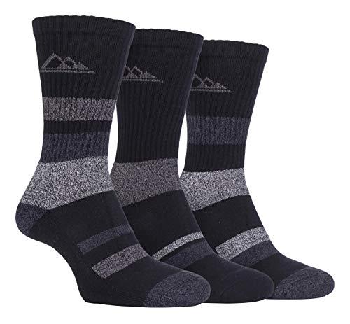Storm Bloc - 3 Pack Mens Padded Sole Anti Blister Lightweight Breathable Cotton Walking Hiking Socks for Summer (6-11 uk, SBMS002BLK)