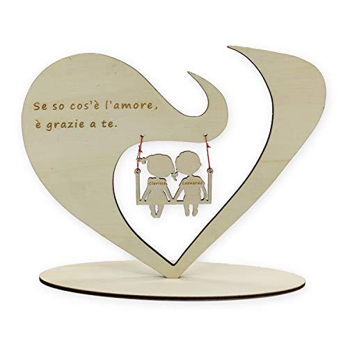 Cuore da Scrivania personalizzato in legno con frase e nomi a scelta Regalo di San Valentino e Anniversario per coppia regalino romantico e indimenticabile per le coppie