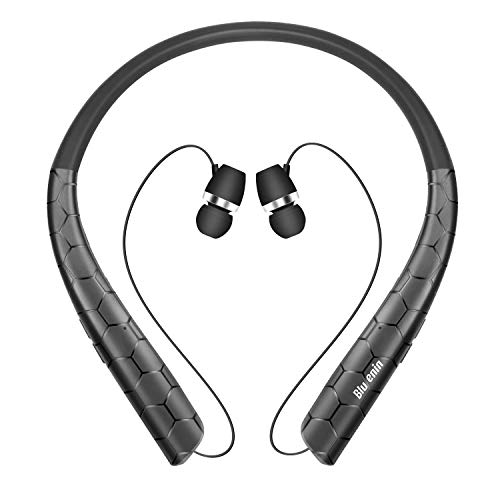 Bluetooth Headphones, Bluenin Wireless Neckband Headset with Retractable Earbuds,Stereo Earphones for Workout Home Office,V5.0 Bluetooth Headset Call Vibrate & CVC6.0 Noise Cancelling Mic (Black)