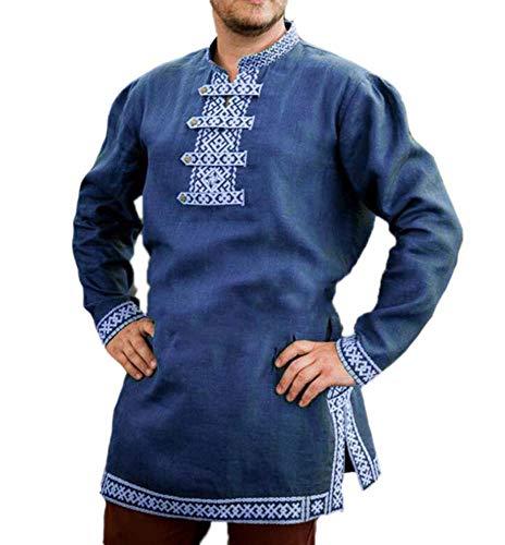 Traje de túnica vikinga Medieval para Hombre Camisa Larga Top Traje de Pirata