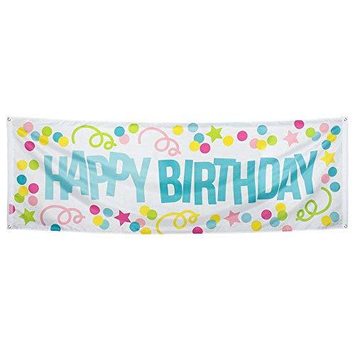 Boland Drapeau à œillets Confettis Happy Birthday en Tissu 74 x 220 cm
