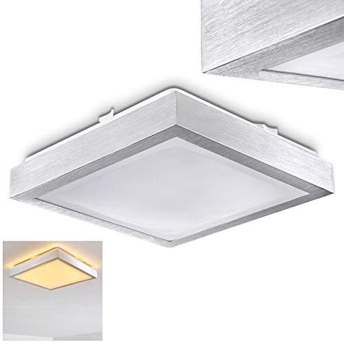 LED Deckenleuchte Wutach, eckige Deckenlampe aus Metall in Alu gebürstet, 1 x 18 Watt, 1380 Lumen, Lichtfarbe 3000 Kelvin (warmweiß), IP 44, auch für das Badezimmer geeignet