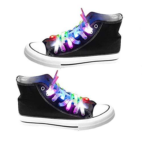 OFKPO 1 par de cordones de nailon, cordones de zapatos LED, cordones de zapatos ligeros para fiestas, cordones luminosos para hip-hop, transparentes, pequeños, para fiestas, discoteca, baile, impermeable