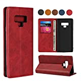 Samsung Note 9 Wallet Case, SailorTech Premium PU Leather Protective Folio Flip Cover with Stand Feature and Built-in Magnet 3-Slots ID&Credit Cards Pockets for Galaxy note9 case(6.4')-Wine Red