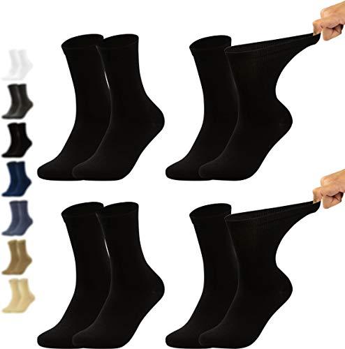 Vitasox 31124 Herren Gesundheitssocken extra weiter Bund ohne Gummi, Venenfreundliche Socken mit breitem Schaft verhindern Einschneiden & Drücken, 4 Paar Schwarz 39/42