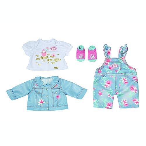 Zapf Creation 705643 Baby Annabell Active Deluxe Jeans 43 cm - blau rosa Puppenhose Jeanshose mit Jeansjacke, weiße Bluse und Socken