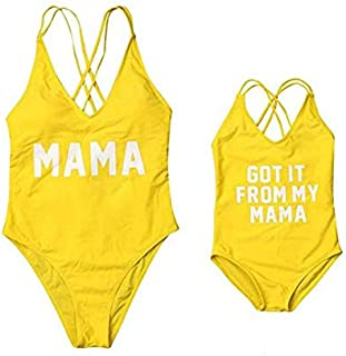 6078bba04a8f4 Family Matching Mother Girl Swimwear Mommy and Me One Piece Beach Wear  Letters Print Sporty Monokini