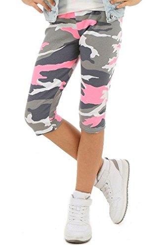 Dykmod Mädchen Leggings 3/4 Capri Hose Camouflage Muster hk277 140-146, Rosa