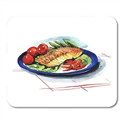 Semtomn Mouse Pad Aquarell Food Fischgericht Red Plate Dining Fleisch Lachs Mousepad für Notebooks, Desktop-Computer Mausmatten, Büromaterial