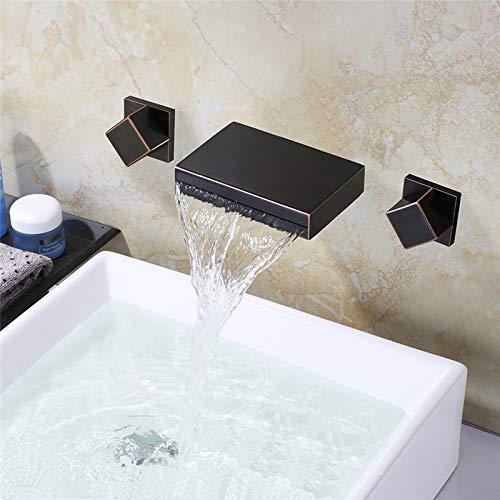 Grifo Bañera Baño Caño en cascada Grifo dividido Control de agua fría y caliente Grifo de luz LED de doble manija oculta en la pared