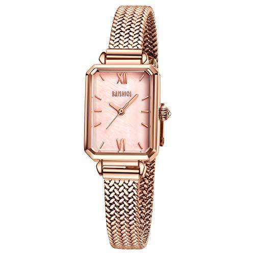 Reloj de pulsera para mujer, estilo retro, cuadrado, cuarzo, analógico, casual, minimalista, impermeable, correa de malla de acero inoxidable, con números romanos