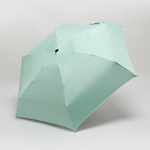 JAYLONG Mini sombrilla de viaje 6 costillas a prueba de viento robusta construcción portátil de acero inoxidable de secado rápido paraguas impermeable plegable para mujeres, hombres, niños y niños, F