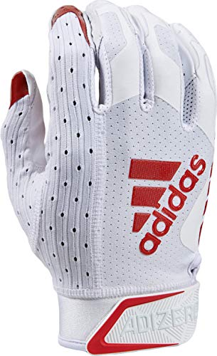 adidas Adizero Football Gloves, Small, White/Red - Receivers Gloves with Added Grip