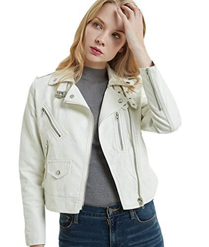 Lvguang Damen Jacke PU Leder Mantel Lederjacke Dünn Bomberjacke Kurz Biker Jacke Outwear (Weiß, Asia XL)