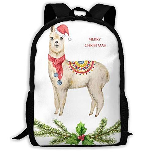 Schulrucksäcke Aquarell Weihnachtskarte Lama Oder Alpaka Laptop Rucksack Komfortabel Schultasche Wasserdicht Business Rucksack Für Teenager Jungen Mädchen